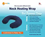 Microwavable Thermal Neck Heating Pad: Large Heat Therapy Pillow for Sore Neck & Shoulder Muscle Pain Relief - Personal, Reusable, Non Electric Deep Muscle Hot Pack Pads or Cold Compress Wraps - Blue