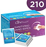 Care Touch Antibacterial Hand Sanitizer Wipes - 210 Individually Wrapped Packets