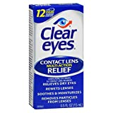 Clear Eyes Contact Lens Relief Eye Drops-0.5 oz, 2 Pack
