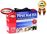 WELL-STRONG First Aid Kit with Durable and Compact Canvas Bag for Home, Car, School, Office, Sports, Travel, Survival, Adventure, Marine, Outdoor Hiking and Camping, Varies from 210 to 300 Pcs