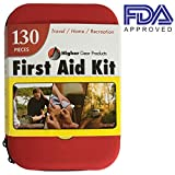 First Aid Kit for Emergency, Car and SUV - Medical Kit for Travel, Home, Business, Hiking, Backpacking, Camping, Marine and Sports | 130 Pieces | Waterproof Hard Shell Case | FDA Approved | Free eBook