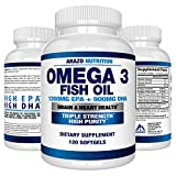 Omega 3 Fish Oil 2250mg - High EPA 1200MG + DHA 900MG Triple...