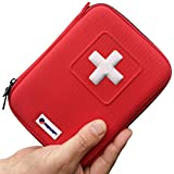 First Aid Kit - 100 Piece, Red Semi Hard Case for Emergency at Home, Outdoors, Car, Camping, Workplace, Hiking & Survival.