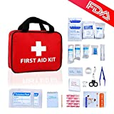 First Aid Kit Home Auto Emergency Safety Kits Personal Medical Supplies Refill for Car,Traveling,Hiking,Camping,Red Cross