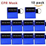 CPR Mask, One-way Valve Emergency Face Shields Rescue Baby and Adult Cpr Pocket Mask for First Aid, Cpr Mask Keychain, Lanting(10 Packs,Blue)