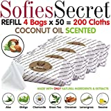 SofiesSecret XL PET Wipes, 200 REFILLS, COCONUT OIL, All in One...